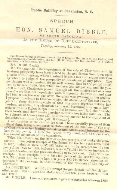 Congressional Speech Given By Samuel Dibble