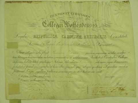 Samuel Dibble's Wofford College diploma.